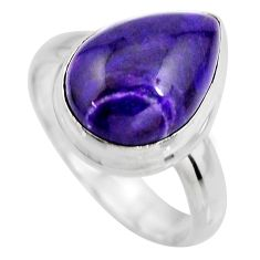 7.04cts natural purple sugilite 925 silver solitaire ring size 7.5 p93099