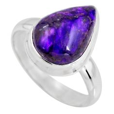 6.95cts natural purple sugilite 925 silver solitaire ring size 8.5 p93100