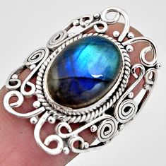 6.83cts natural blue labradorite 925 silver solitaire ring size 6.5 p93114