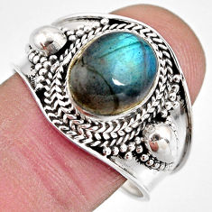 4.22cts natural blue labradorite 925 silver solitaire ring jewelry size 9 p93121