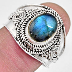 4.02cts natural blue labradorite 925 silver solitaire ring jewelry size 8 p93122