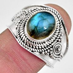 4.02cts natural blue labradorite 925 silver solitaire ring jewelry size 9 p93123