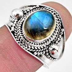 4.52cts natural blue labradorite 925 silver solitaire ring size 7.5 p93126