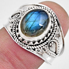 4.30cts natural blue labradorite 925 silver solitaire ring jewelry size 8 p93130