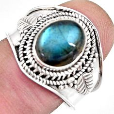 4.22cts natural blue labradorite 925 silver solitaire ring size 8.5 p93139