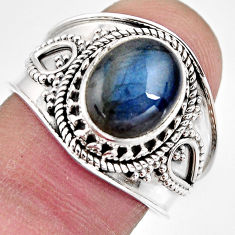 4.51cts natural blue labradorite 925 silver solitaire ring size 8.5 p93147