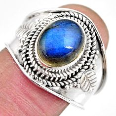 4.40cts natural blue labradorite 925 silver solitaire ring jewelry size 9 p93148