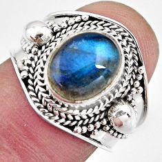 4.52cts natural blue labradorite 925 silver solitaire ring jewelry size 7 p93151