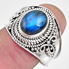 4.02cts natural blue labradorite 925 silver solitaire ring size 8.5 p93152