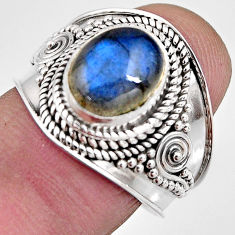 925 silver 4.38cts natural blue labradorite solitaire ring jewelry size 8 p93154