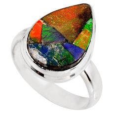 7.50cts natural ammolite triplets 925 silver solitaire ring size 7.5 p93161