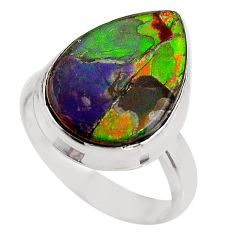 9.29cts natural ammolite triplets 925 silver solitaire ring size 7 p93173