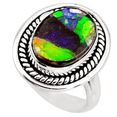 925 silver 6.59cts natural ammolite triplets oval solitaire ring size 7 p93177