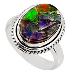 6.31cts natural ammolite triplets 925 silver solitaire ring size 7.5 p93183