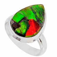 925 silver 8.42cts natural ammolite triplets pear solitaire ring size 7.5 p93190