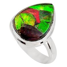 8.80cts natural ammolite triplets 925 silver solitaire ring size 8 p93195