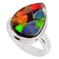 8.44cts natural ammolite triplets 925 silver solitaire ring size 7 p93196