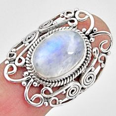 7.07cts natural rainbow moonstone 925 silver solitaire ring size 7.5 p93266