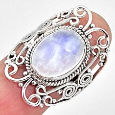 6.46cts natural rainbow moonstone 925 silver solitaire ring size 7.5 p93280