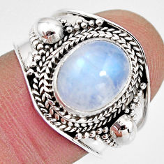 4.52cts natural rainbow moonstone 925 silver solitaire ring size 7 p93281