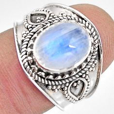 925 silver 4.47cts natural rainbow moonstone oval solitaire ring size 7 p93284