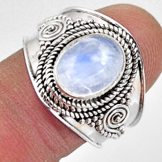 4.34cts natural rainbow moonstone 925 silver solitaire ring size 8.5 p93285