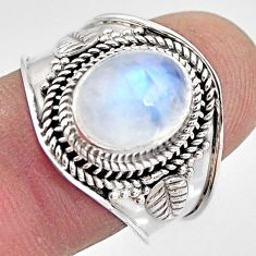 4.21cts natural rainbow moonstone 925 silver solitaire ring size 8.5 p93290