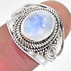 4.40cts natural rainbow moonstone 925 silver solitaire ring size 7.5 p93291