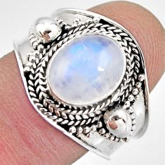 925 silver 4.45cts natural rainbow moonstone solitaire ring size 8 p93294