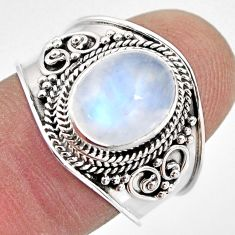 4.52cts natural rainbow moonstone 925 silver solitaire ring size 8 p93295