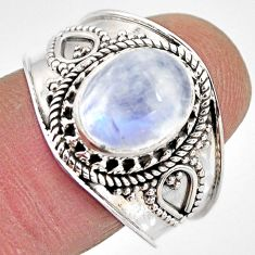 4.30cts natural rainbow moonstone 925 silver solitaire ring size 9 p93297