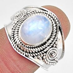 4.40cts natural rainbow moonstone 925 silver solitaire ring size 8 p93300