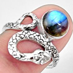 3.50cts natural blue labradorite 925 silver snake solitaire ring size 7 p93883