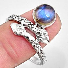 3.50cts natural blue labradorite silver snake solitaire ring size 10.5 p93889