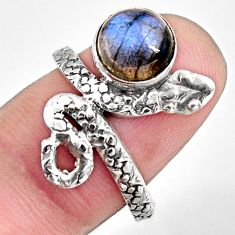 3.41cts natural blue labradorite 925 silver snake solitaire ring size 7.5 p93892