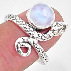 925 silver 3.43cts natural rainbow moonstone snake solitaire ring size 8 p93904
