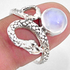 3.50cts natural rainbow moonstone 925 silver snake solitaire ring size 8 p93905