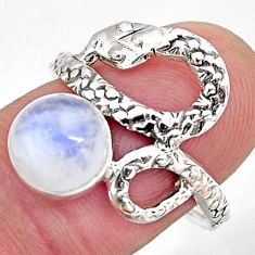 3.42cts natural rainbow moonstone silver snake solitaire ring size 7.5 p93912