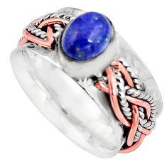 2.11cts natural blue lapis lazuli 925 silver 14k rose gold ring size 7.5 p93951