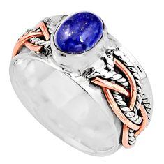 2.11cts natural blue lapis lazuli 925 silver 14k rose gold ring size 7.5 p93954