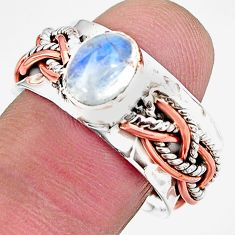 2.24cts natural rainbow moonstone 925 silver 14k rose gold ring size 8.5 p93958