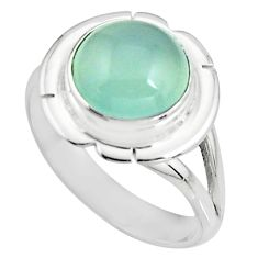 5.52cts natural aqua chalcedony 925 silver solitaire ring size 8.5 p93981