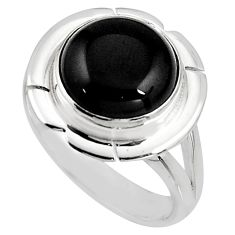 925 sterling silver 6.03cts natural black onyx solitaire ring size 7 p93989