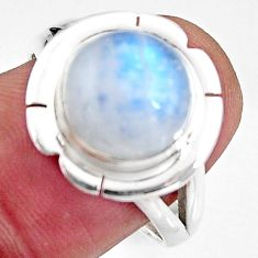 925 silver 6.03cts natural rainbow moonstone solitaire ring size 8.5 p93995