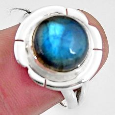 5.52cts natural blue labradorite 925 silver solitaire ring jewelry size 7 p93996