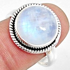 6.55cts natural rainbow moonstone 925 silver solitaire ring size 8.5 p94207
