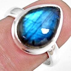 6.04cts natural blue labradorite 925 silver solitaire ring jewelry size 8 p94225