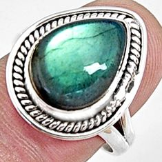6.83cts natural blue labradorite 925 silver solitaire ring size 7.5 p94230