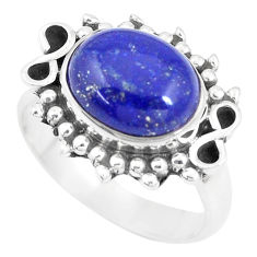 5.53cts natural blue lapis lazuli 925 silver solitaire ring jewelry size 8 p9441