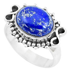 5.08cts natural blue lapis lazuli 925 silver solitaire ring jewelry size 7 p9443